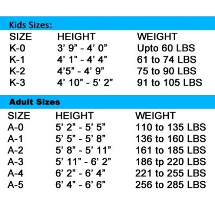 Size Chart of BJJ