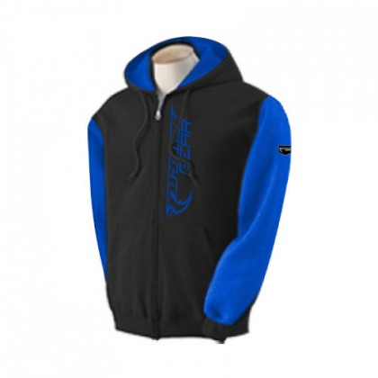Two Tone Zipper Hoody Blk/Blue-L