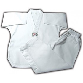 RIBBED V-Neck Uniform White